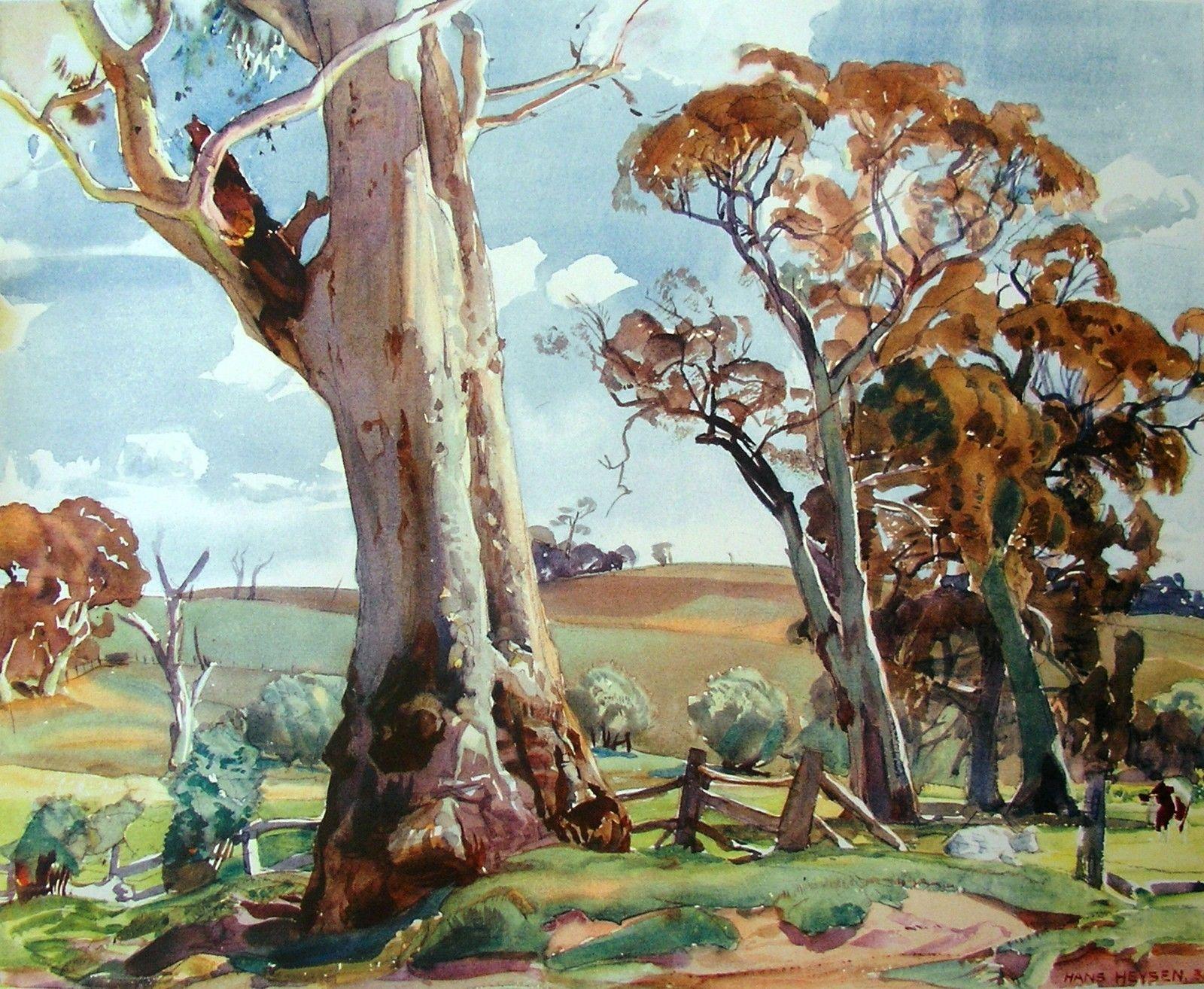 Hans Heysen Country Landscape Pastures Cows Beautiful Australian