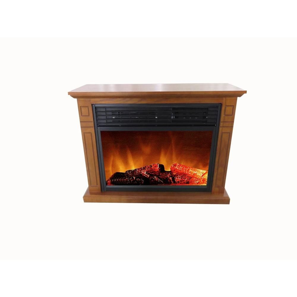 Hampton Bay Cedarstone 3-Element Infrared Electric Fireplace in Oak - FP405R-QA(oak) - The Home Depot