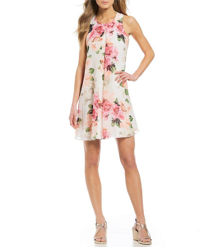 de79afcabb Calvin Klein Floral Print Chiffon Inverted Front Pleat A-Line Dress ...