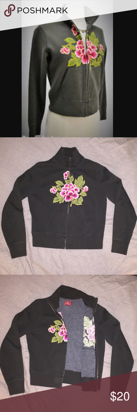 Lucky Brand Floral Embroidered Zip Up Sweater Black cotton sweater with zip front joining both sides of a beautifully embroidered pink flower. Size is a large but fits more like a small-medium. Lucky Brand Sweaters