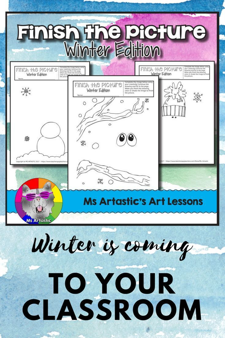 Winter Art Activity: Finish the Picture | Worksheets, Creativity ...