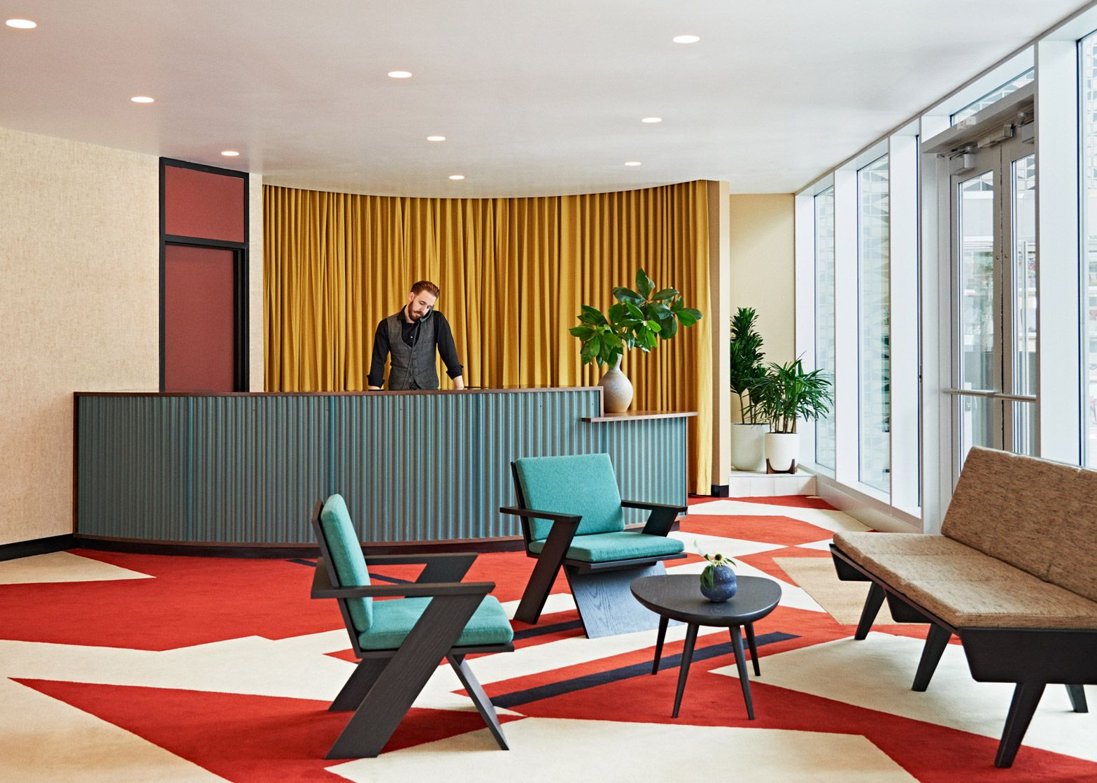 Commune Design Has Transformed A Mid Century Modern Office Building In North  Carolina Into A Boutique Hotel With Geometric Patterns And Vintage Style  Decor.