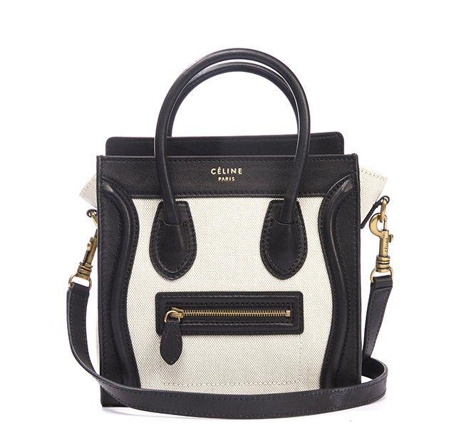Celine Black Leather and Ivory Canvas Nano Mini Luggage Bag w Strap $1,940.00