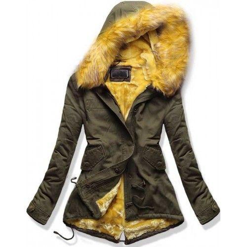 8b108c61e22 Dámská zimní bunda Feathers žlutá AKCE – žlutá Elegantní a stylová zimní  bunda Feathers s klasickým