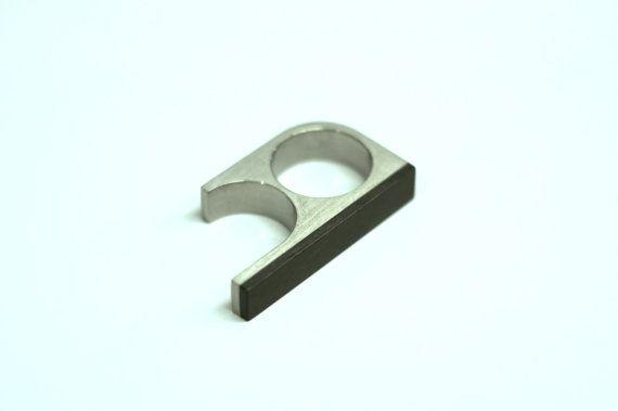 Titanium Bauhaus Minimalist Two Finger Ring with door MayakDesign