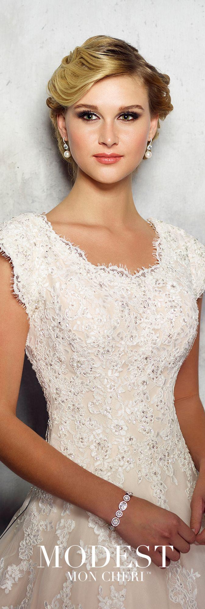 Lace cap sleeve a line wedding dress  Lace u Organza ALine Wedding Gown  Modest by Mon Cheri TR