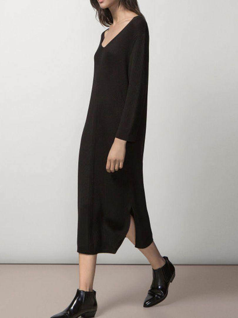 Black vneck long sleeve side split longline sweater dress clothes