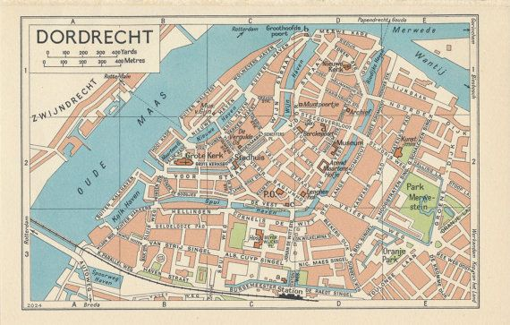 1961 Dordrecht Netherlands Holland Vintage Map Vintage maps