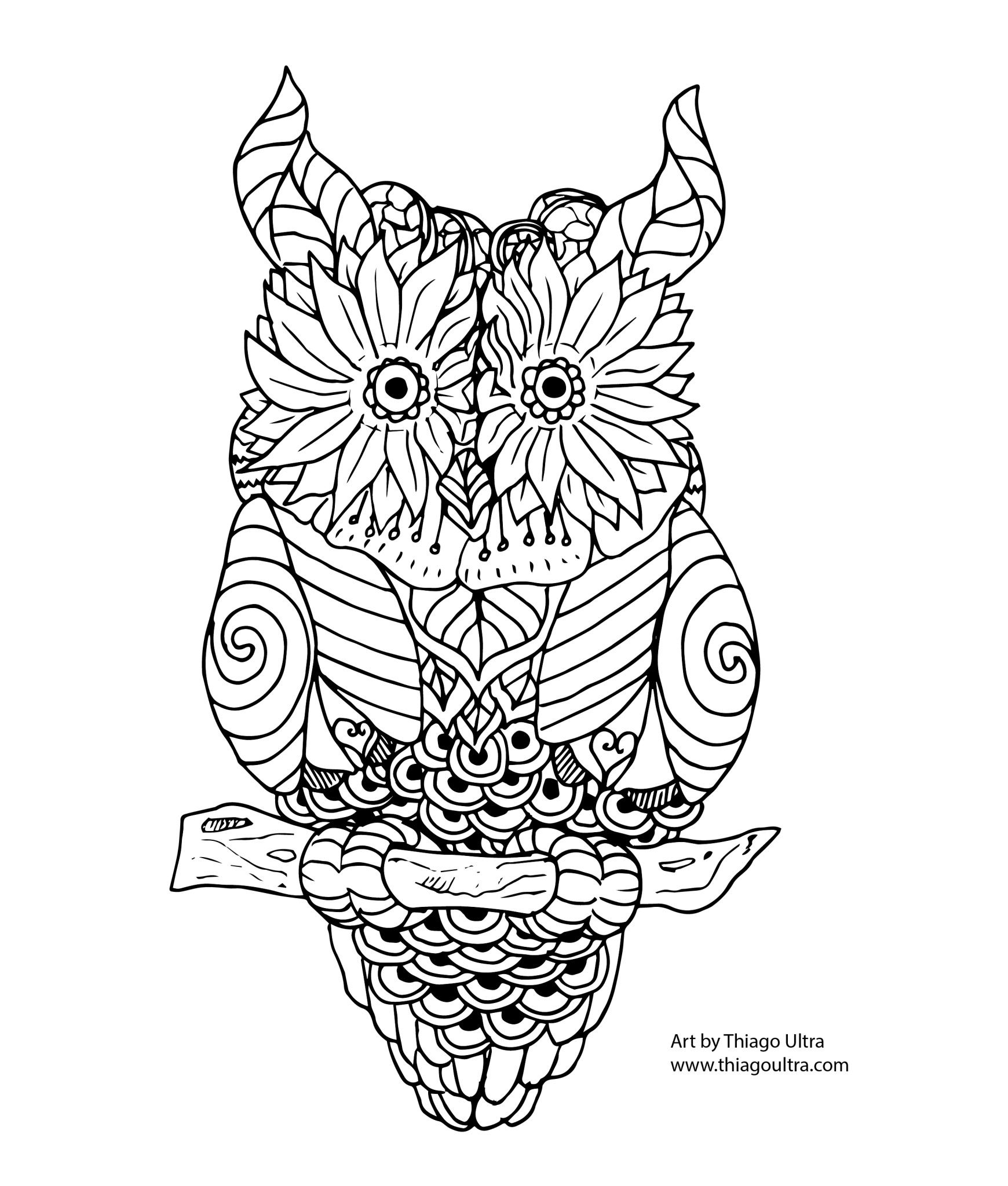 Floral Owl Free Coloring Page Ausmalbilder Eule Ausmalen