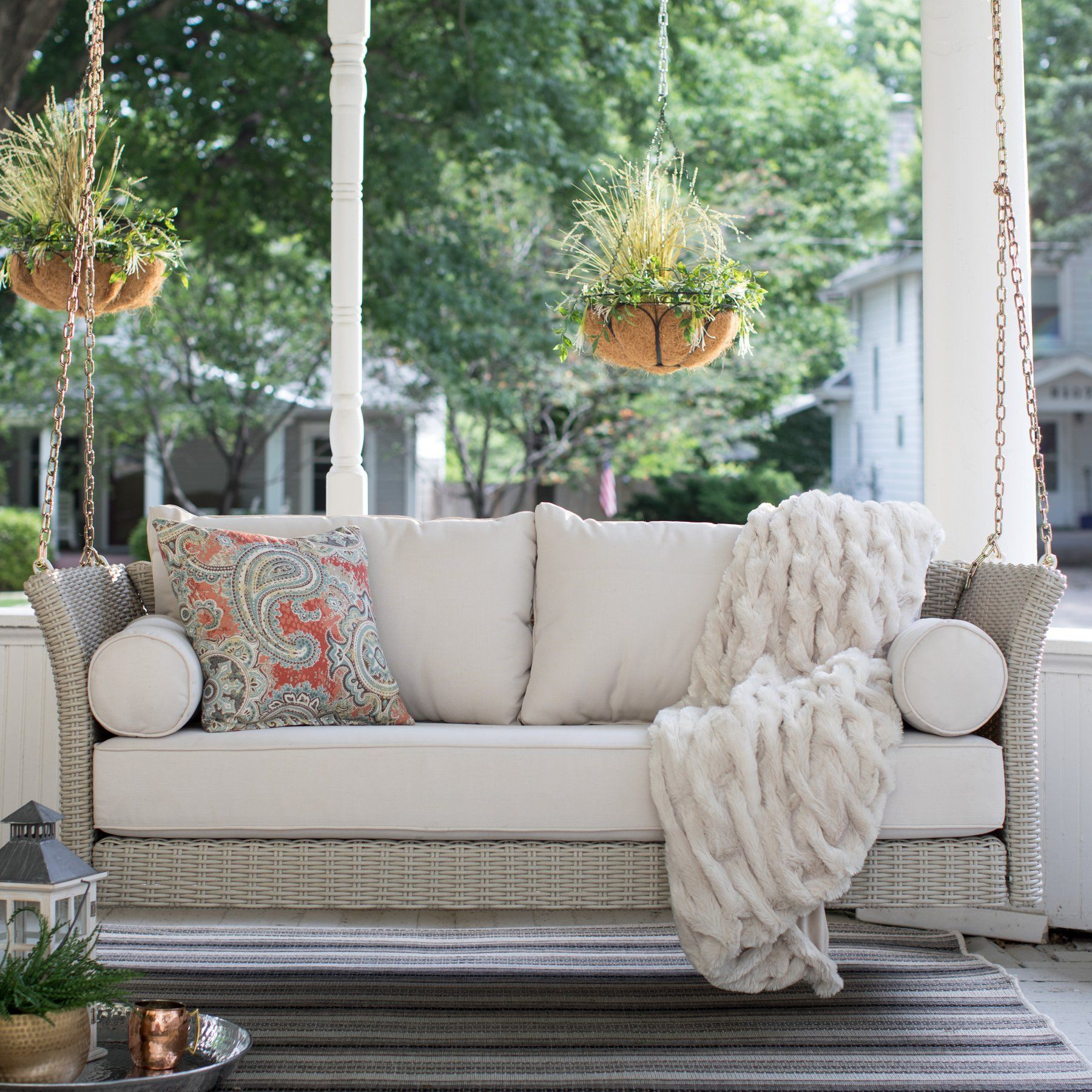 Belham Living Bellevue Deep Seating All Weather Wicker Porch Swing Bed With Cushion Wicker Porch Swing Porch Swing Bed Porch Swing