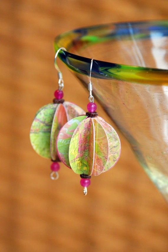 Recycled Paper Lantern Earrings $20.00 #recycled #boho #bohemian