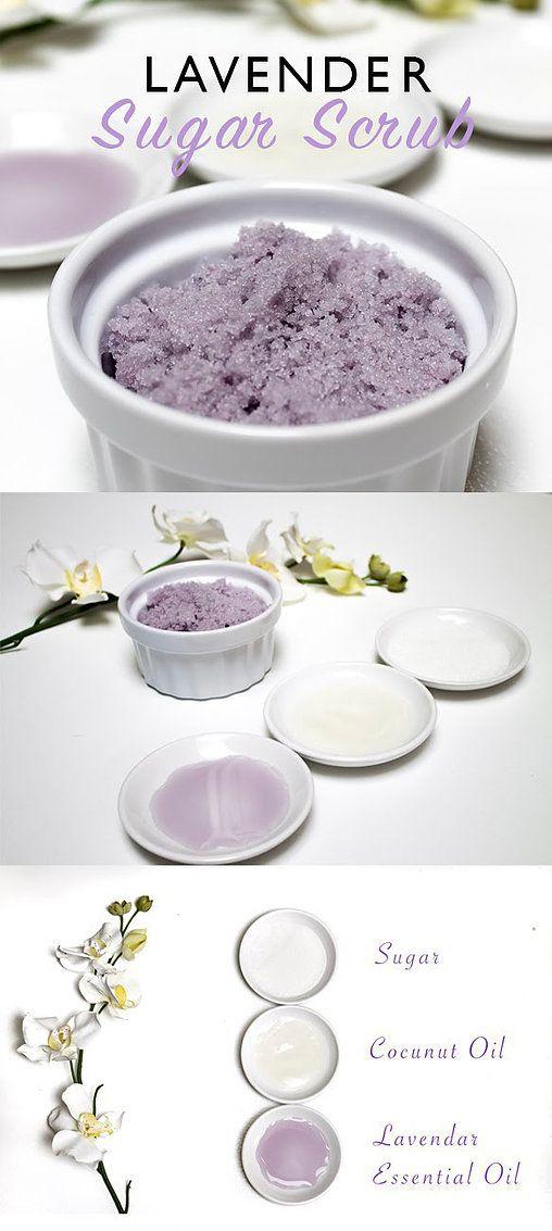 lavender sugar scrub! homemade DIY Materials: 1/2 cup Coconut Oil 1 ...
