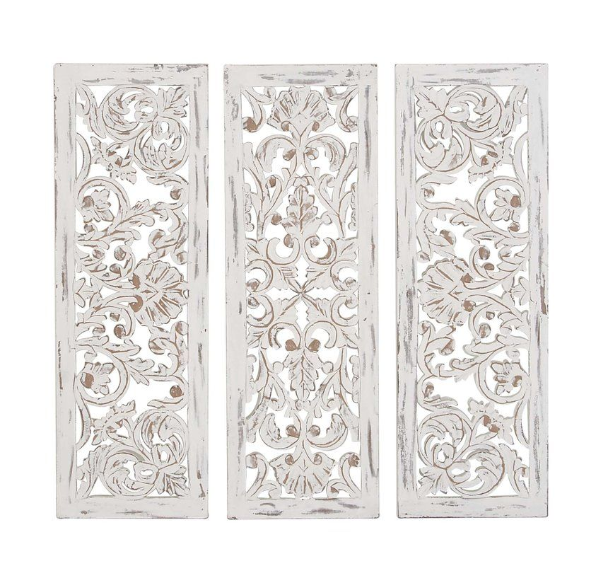 3 Piece Rustic Carved Ornate Wood Wall Decor Set Wood Panel Walls Flower Wall Decor Wall Paneling