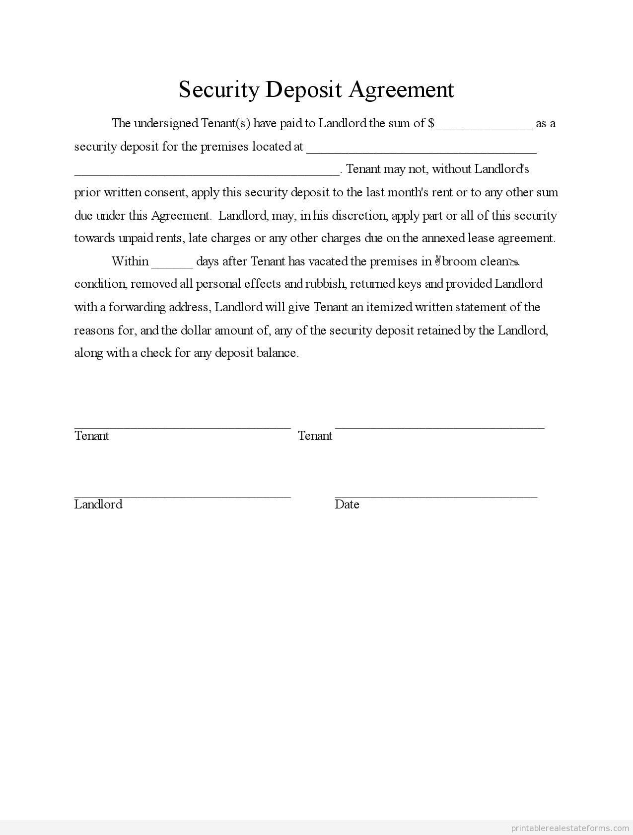 Sample printable security deposit agreement form sample for Car deposit contract template