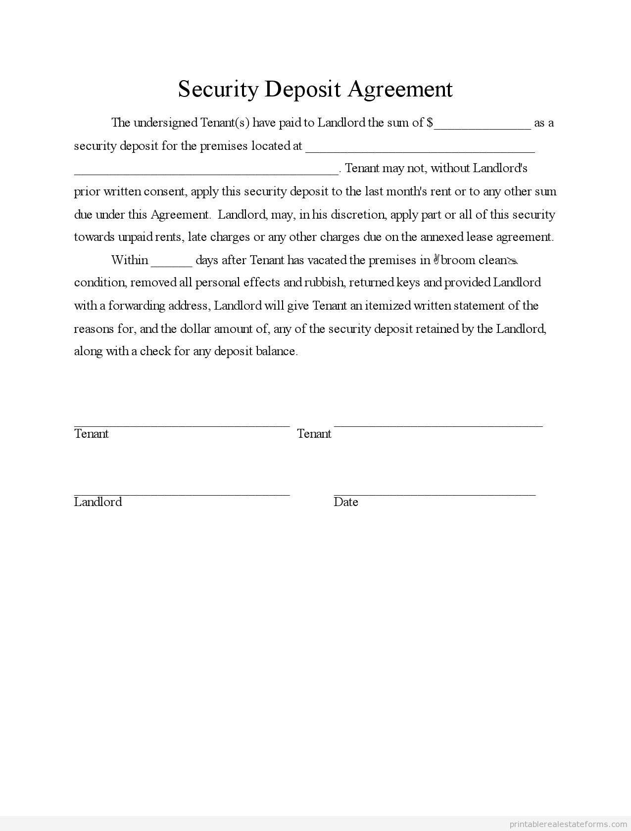 Sample Printable security deposit agreement Form – Rental Deposit Form