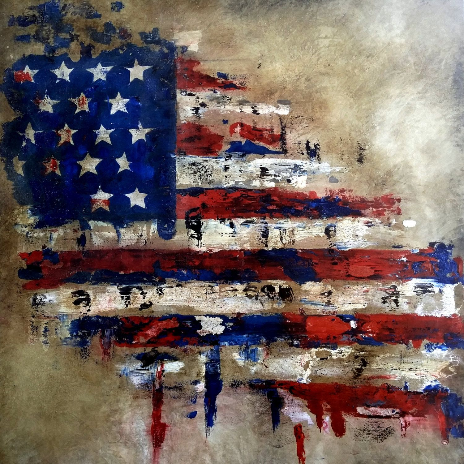 Abstract Flag Painting American Veterans Canvas Pop Art By