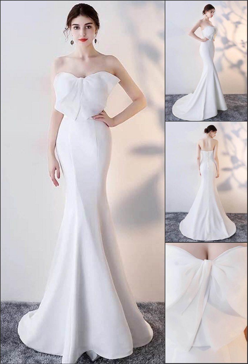 7678146d788 Elégante robe longue blanche sirène bustier avec grand noeud papillon pour  grande cérémonie ou mariage