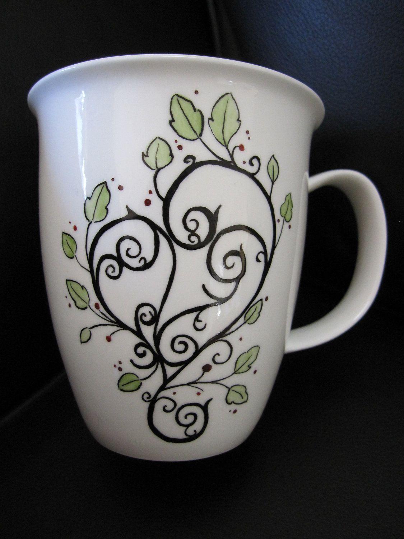 Tea cup, Coffee mug, heart, hand painted bone china. 31
