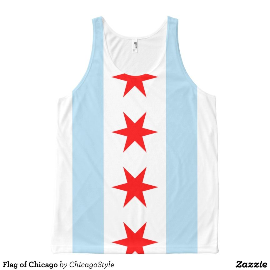 Flag of Chicago All-Over Print Tank Top Tank Tops