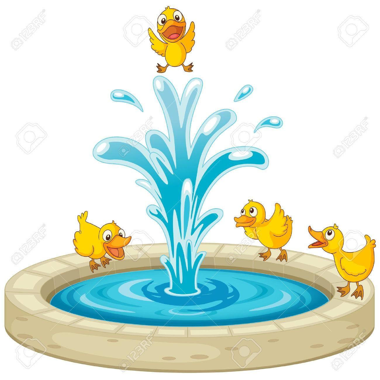 Water Fountain Clip Art Illustration Of Ducks And Fountain Fountain Water Water Fountain Clip Art Illustration