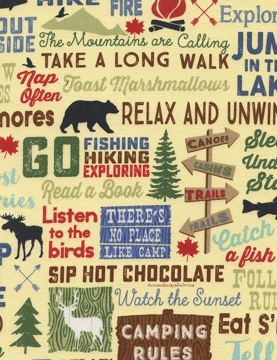 Camping Words Fabric Timeless Treasures Fun By Annadaisysfabrics Camping Fabric Timeless Treasures Fabric Timeless Treasures