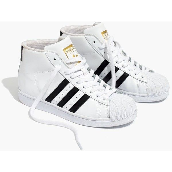 best service fa2d4 f4e58 MADEWELL Adidas® Superstar™ Pro Model High-Top Sneakers (90) ❤ liked on  Polyvore featuring shoes, sneakers, black white, rubber sole shoes, high  top shoes ...