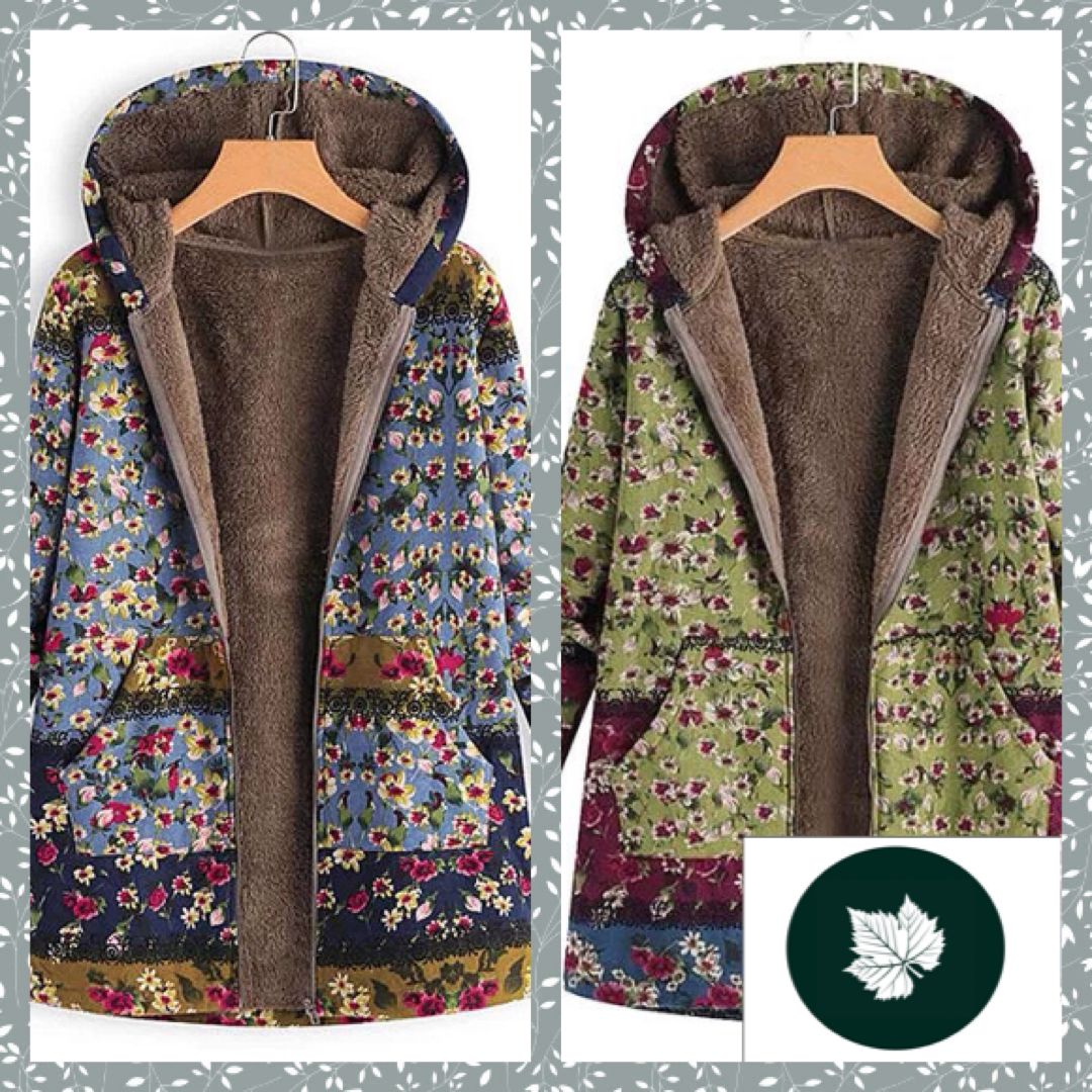 Pretty Print Flocked Lightweight Hooded Jacket