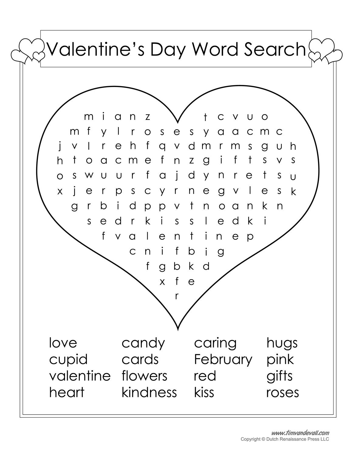 Valentines Day Word Search Printable