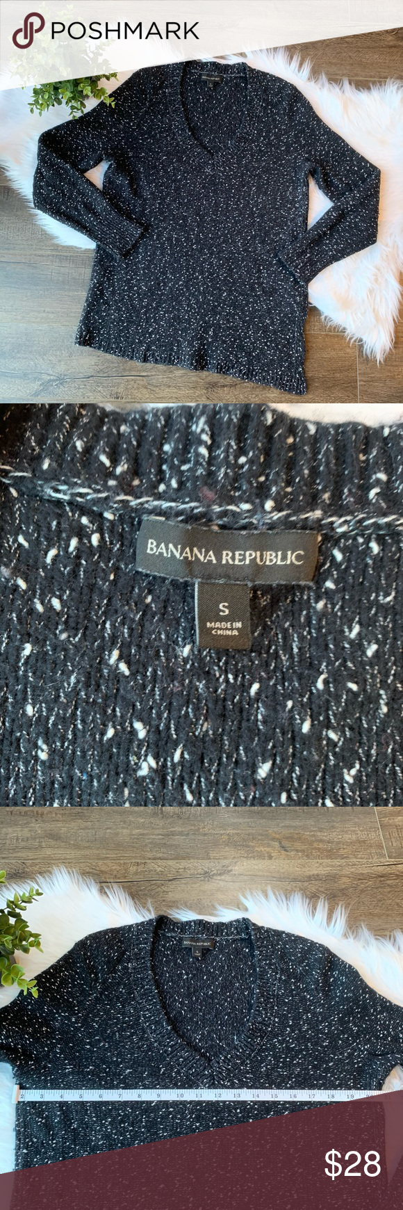Banana Republic v neck speckled sweater | Clothes design
