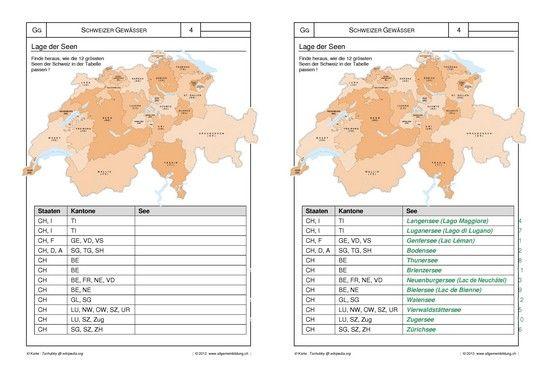 Geografie Arbeitsblatt Schweizer Gewasser Lernwege Flusse Seen