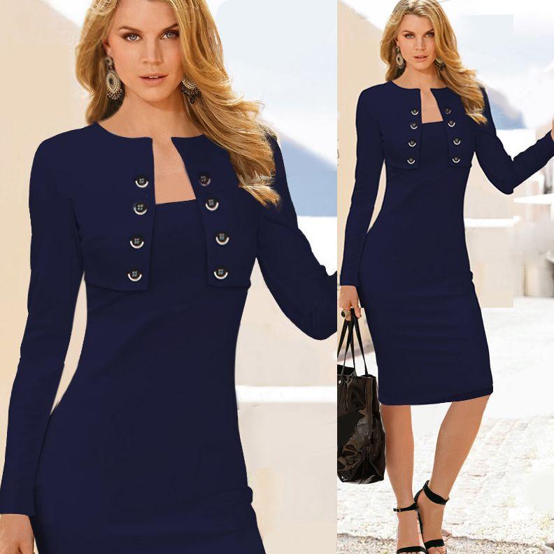 77794a917 ... de verano 2015 elegante azul blanco botón del desgaste del trabajo  oficina dos piezas del partido Bodycon mujeres ocasionales negocios vestidos  tallas ...