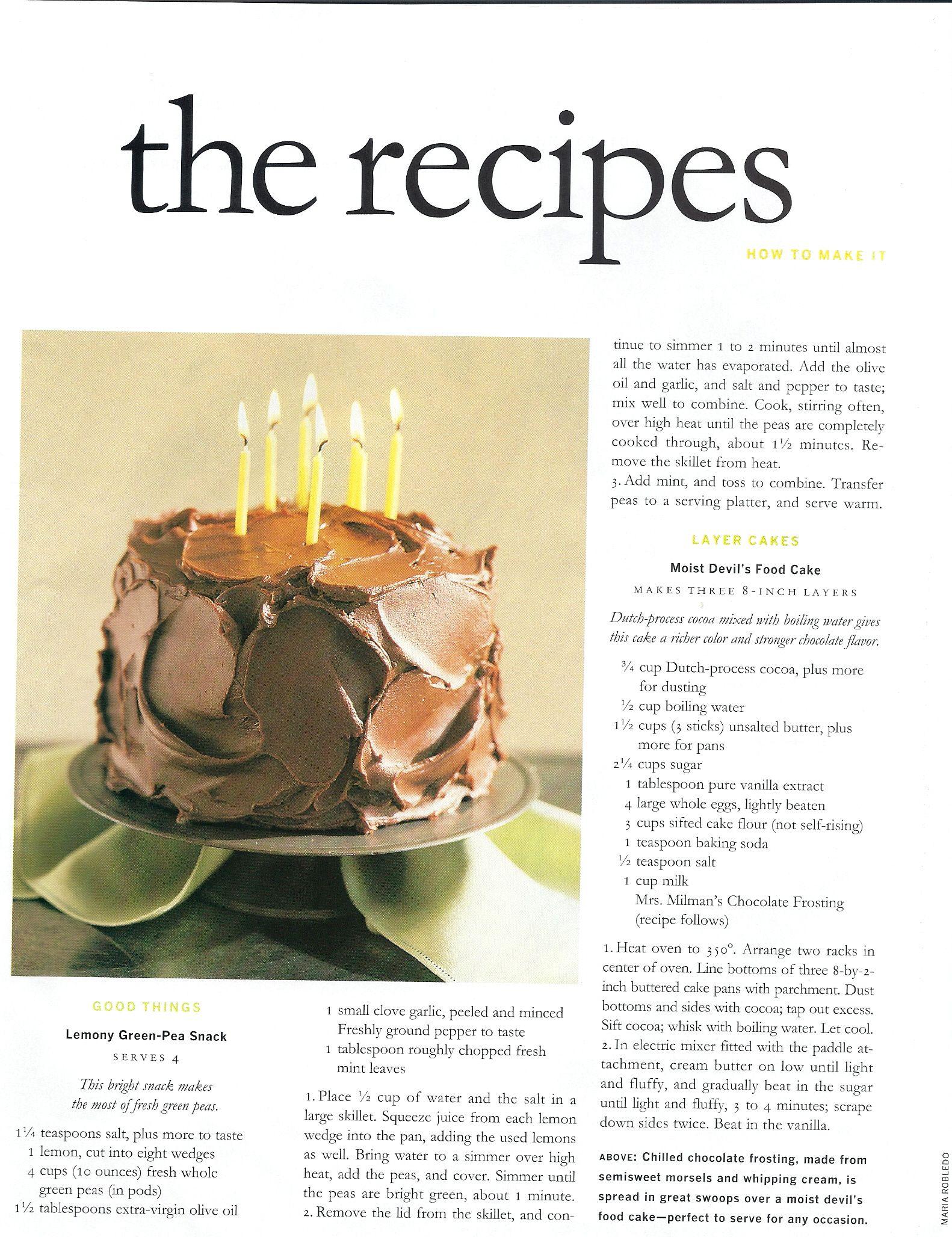 Moist Devils Food Cake With Mrs Millmans Chocolate Frosting Recipe Martha Stewart