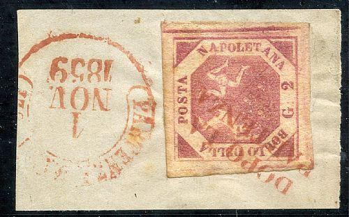 DOPO LA/PARTENZA - SD rosso unico ann. di 2 gr. (5) su framm. da Napoli 1 NOV 1859. Ann. non conosciuto. Splendido e raro. Bot.