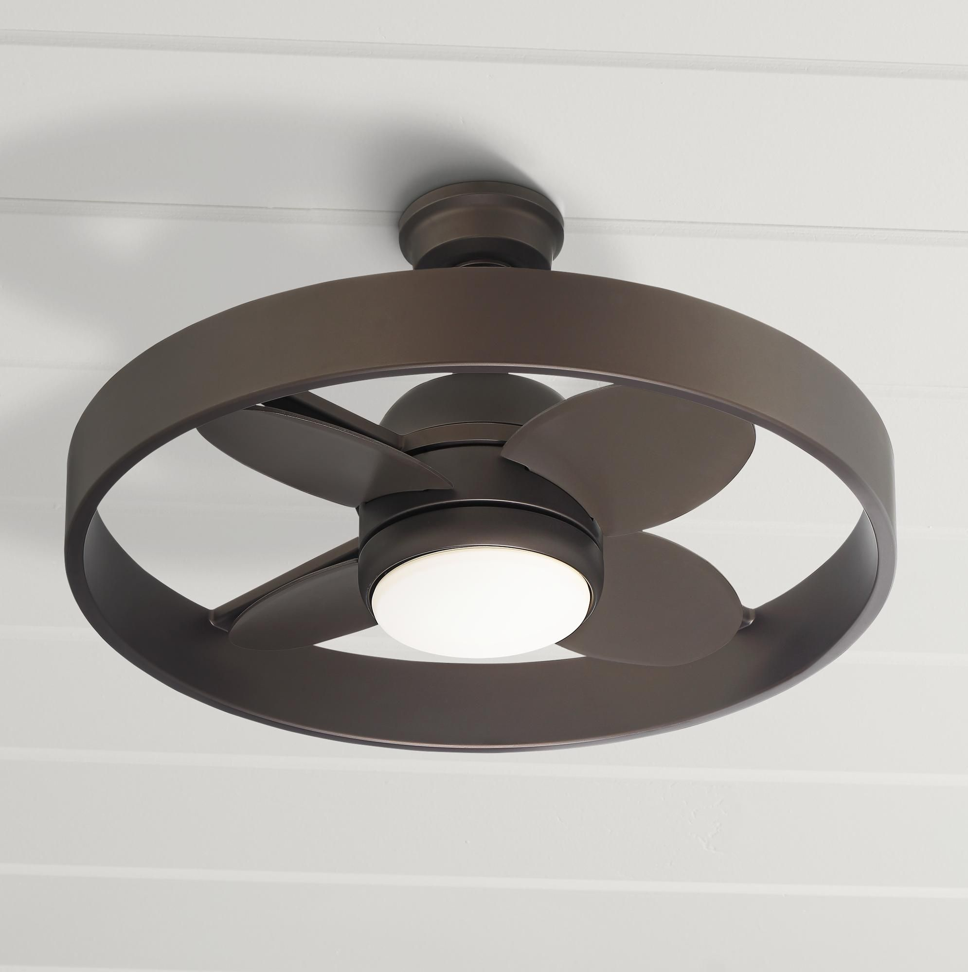 24 Inch Casa Agile Bronze Circle Damp Rated Led Ceiling Fan Di 2020