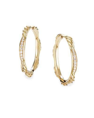3082443a7b661 David Yurman Tides 18k Gold Diamond Hoop Earrings | Products ...