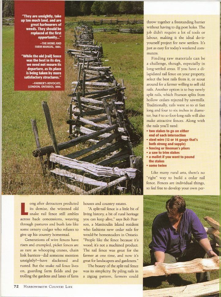 Harrowsmith article how to install a cedar split rail