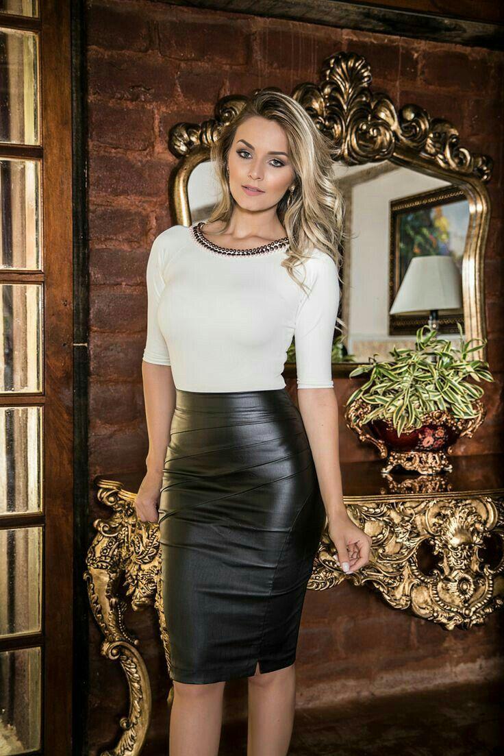 86363b20ead Black leather pencil skirt