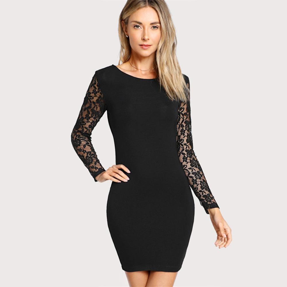 Violette Long Sleeved Floral Lace Fitted Black Mini Dress Mini Black Dress Form Fitting Dress Evening Dress Outfit