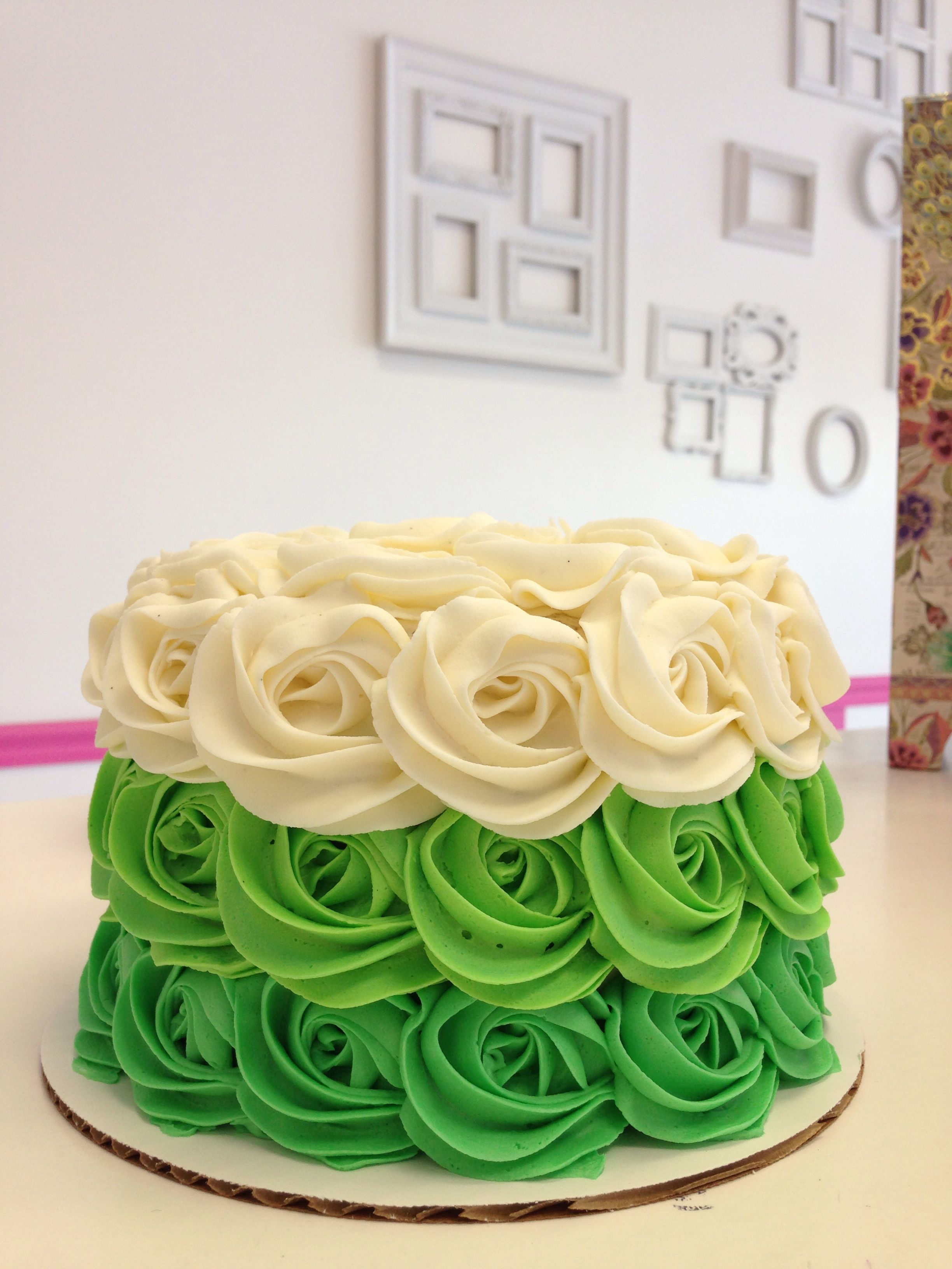 Green Ombre Rosette Cake By Goodie Girls