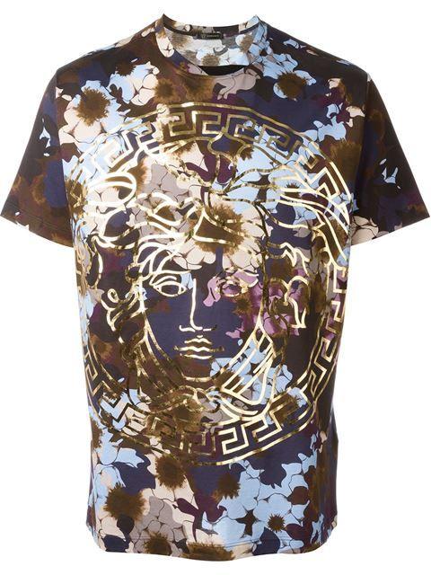 Versace T Shirt Mit Floralem Print Eraldo Farfetch Com Versace T Shirt T Shirt Manner Versace Herren