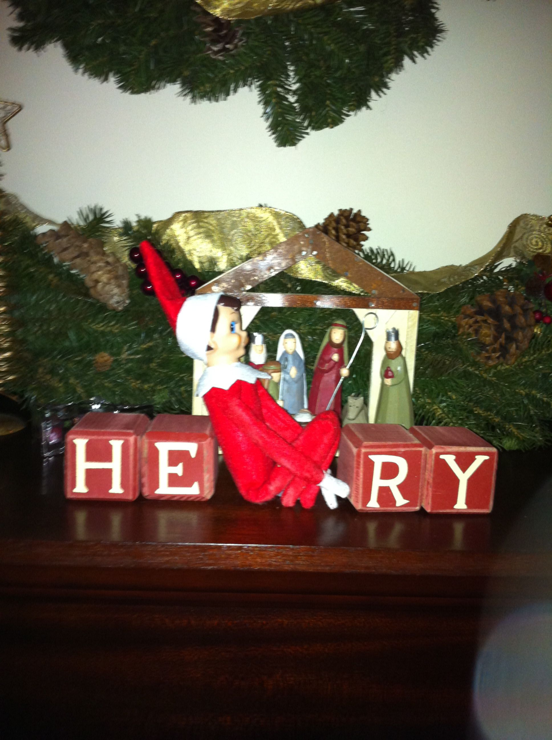 He can spell! We have blocks that spell Merry Christmas but Henry thought it was all about him.