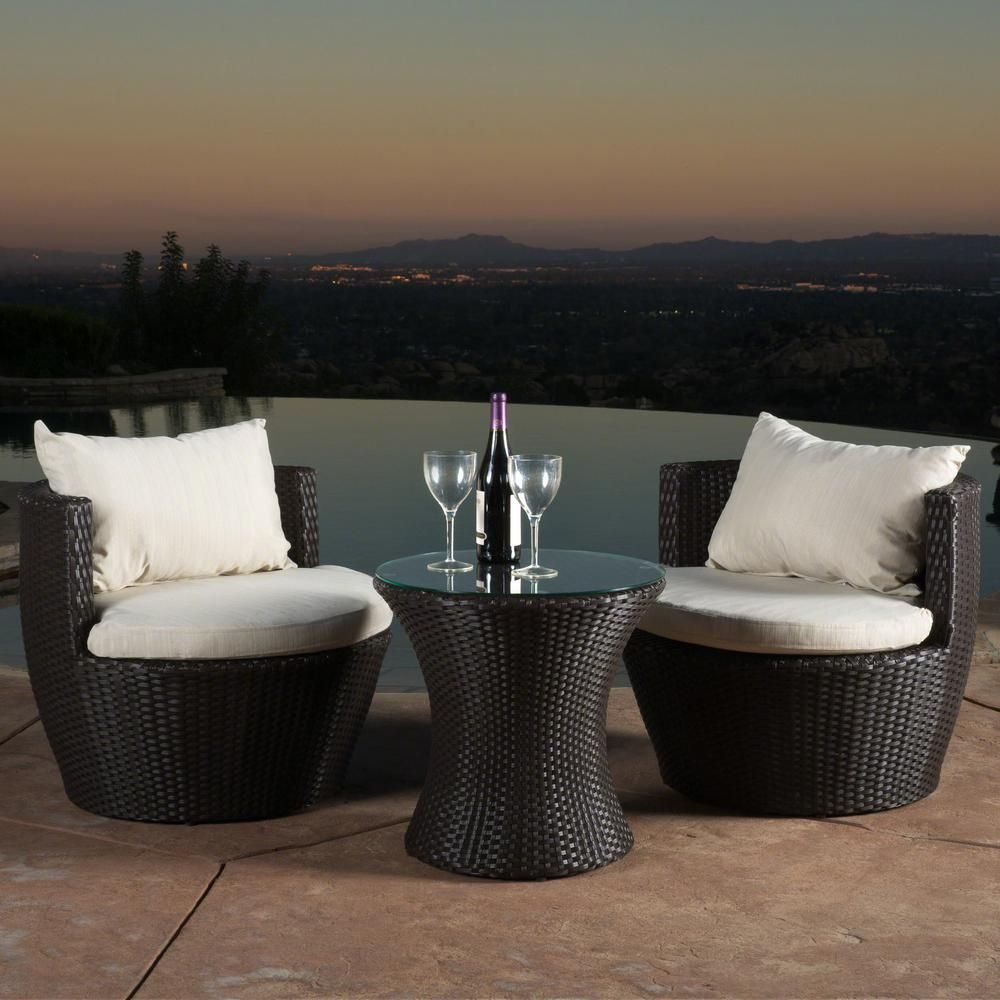 Noble House Kono Brown 3 Piece Wicker Patio Conversation Set With Beige Cushions 7157 The Home Depot Home Decor Furniture Outdoor Furniture Sets Conversation Set Patio