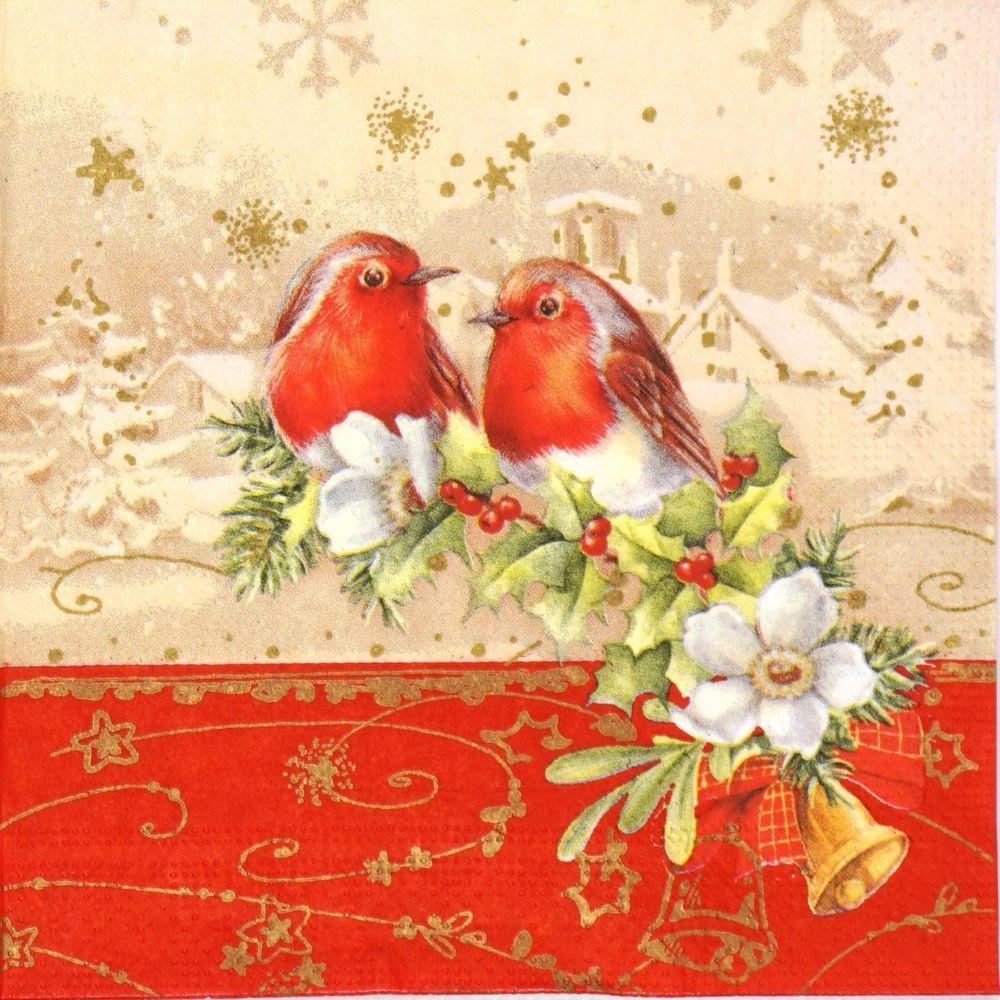 4x Paper Napkins for Decoupage Decopatch Craft Festive Bird