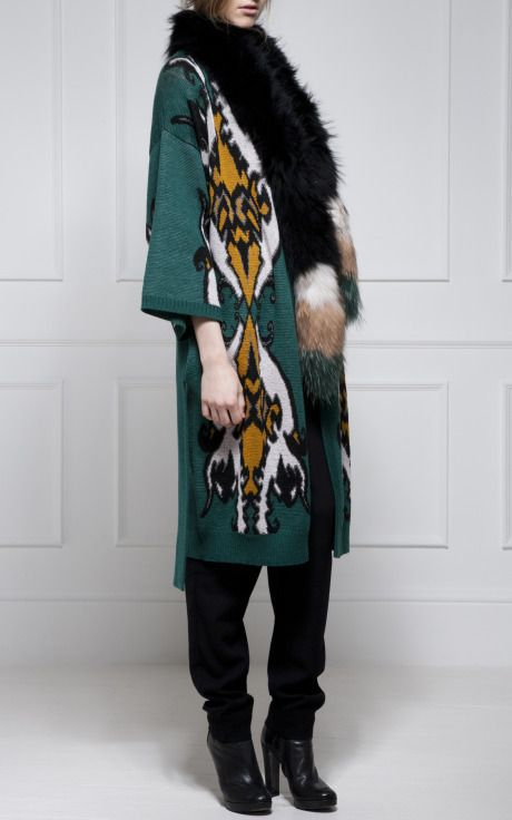 Matthew Williamson - Jacquard Knit Wrap Cardigan with Raccoon Stole