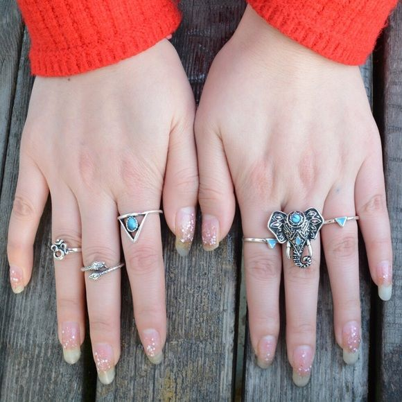 Boho elephant silver vintage 6 piece ring set Antique silver boho chic ring set bundle of 6 rings. Boho chic tribal style. Rings have an antique silver plated finish over zinc alloy. Turquoise stone details. Jewelry Rings