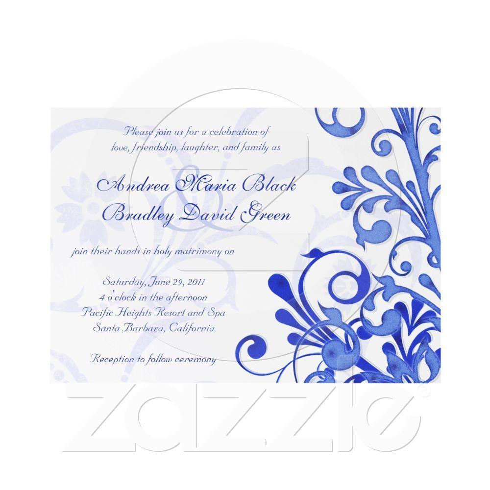 Wedding Invitation Borders Royal Blue | Invitationjpg.com