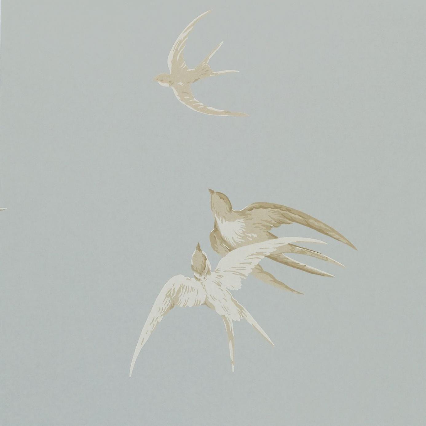 Swallows Wallpaper - Silver (DVIWSW104) - Sanderson Vintage Wallpapers Collection