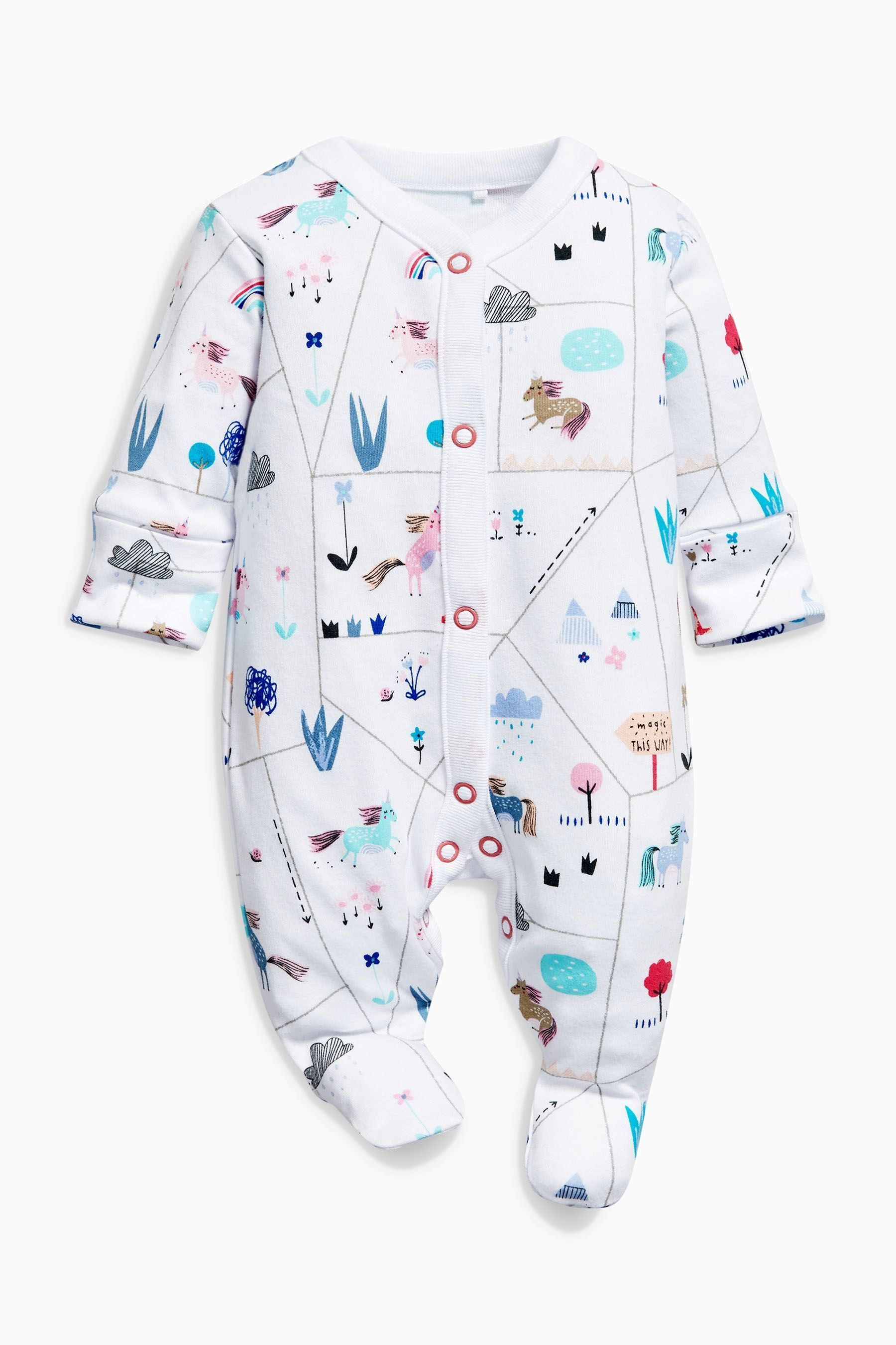 2a2388675f98 Buy Pink White Unicorn Sleepsuits Three Pack (0mths-2yrs) from Next ...