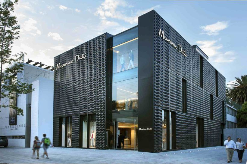 Dark metallic screen covers massimo dutti store in mexico city by sma find this pin and more on architects designed