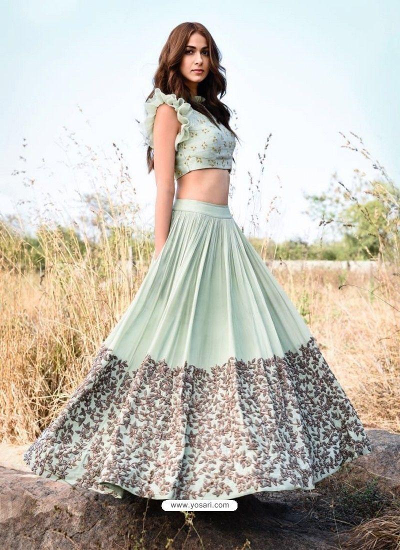 d61cd645e30b Sea Green Embroidered Silk Designer Lehenga Choli | Dresses | Indian ...